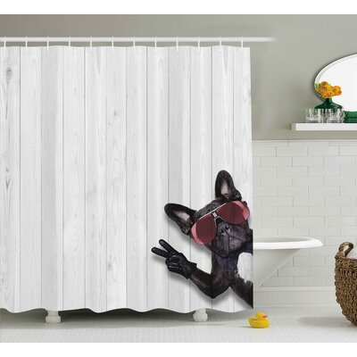 Animal Husky Dog Peace Sign Shower Curtain Size: 69 W x 75 L
