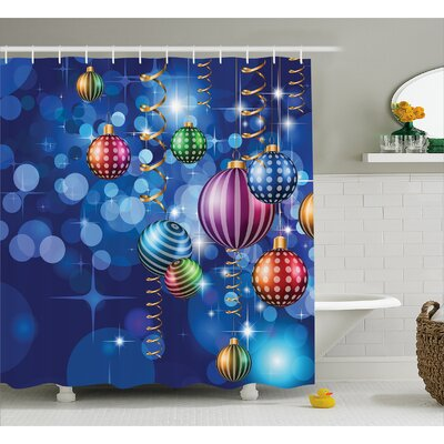 Christmas Happy New Year Party Shower Curtain Size: 69 W x 70 L