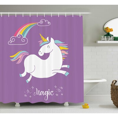 Axel Purple Kids Rainbow Shower Curtain Size: 69 W x 75 L