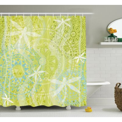 Minni Dragonfly over Mandala Shower Curtain Size: 69 W x 75 L