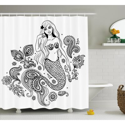 Paisley Mermaid Figure in Ocean Shower Curtain Size: 69 W x 75 L