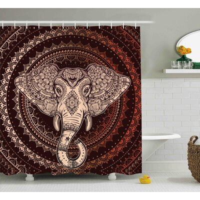 Alep Oriental Elephant Head Shower Curtain Size: 69 W x 84 L