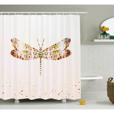 Minni Majestic Dragonfly Art Shower Curtain Size: 69 W x 84 L