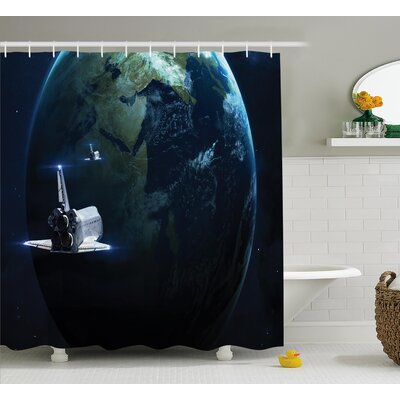 Belz Spaceship Earth Fiction Shower Curtain Size: 69 W x 75 L