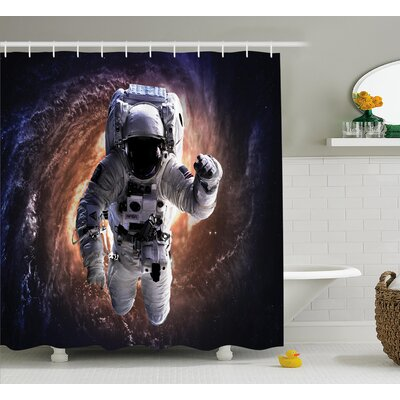 Astronaut in Outer Space Shower Curtain Size: 69 W x 75 L