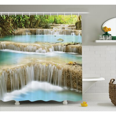 Scenery Rock Stairs in Forest Shower Curtain Size: 69 W x 84 L