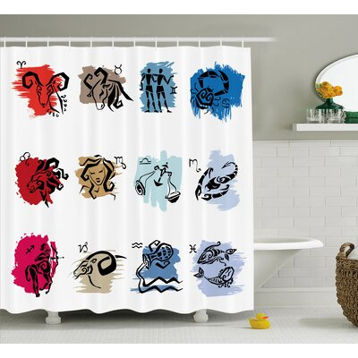 Alexi Zodiac Signs Art Shower Curtain Size: 69