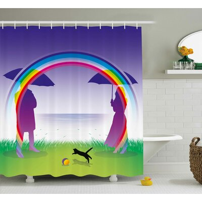 Romantic Couple under Rainbow Shower Curtain Size: 69 W x 75 L