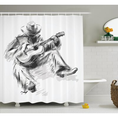 Arthur Cowboy and Guitar Eastern Shower Curtain Size: 69 W x 70 L