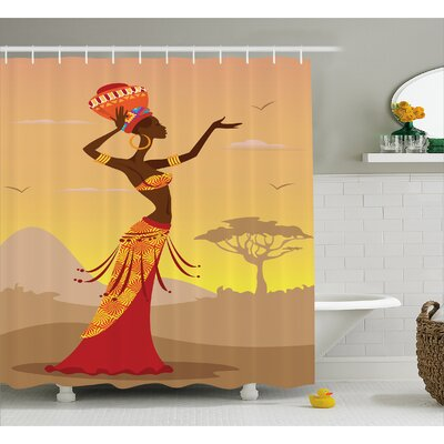 Avia Desert Gulls Folk Decor Shower Curtain Size: 69 W x 75 L