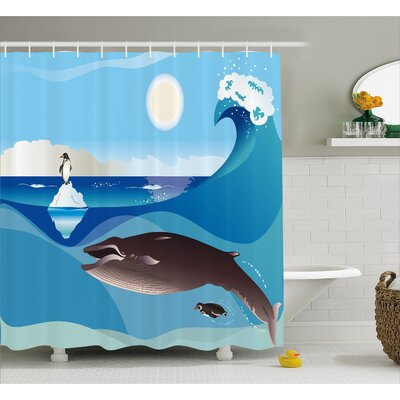 Lottie Penguin Wave in Pole Shower Curtain Size: 69 W x 84 L
