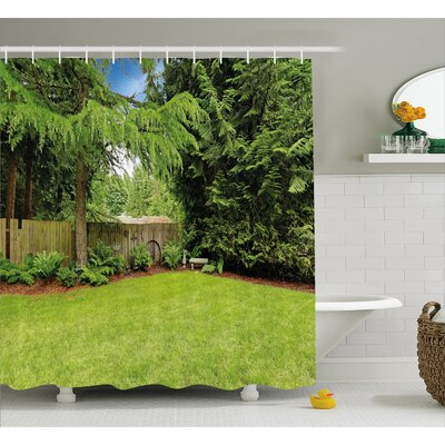 Rustic Pine Trees Backyard Shower Curtain Size: 69 W x 75 L