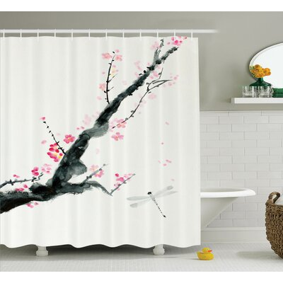Bellingham Cherry Sakura Tree Shower Curtain Size: 69 W x 75 L
