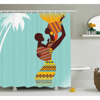 Houston African Ethnic Mother Print Shower Curtain Size: 69 W x 75 L