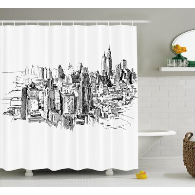 Berard NYC Historical Sketch Shower Curtain Size: 69 W x 70 L