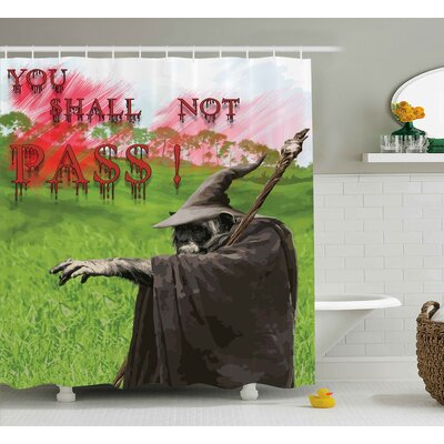 Mystic Bloody Evil Quotation Shower Curtain Size: 69 W x 84 L
