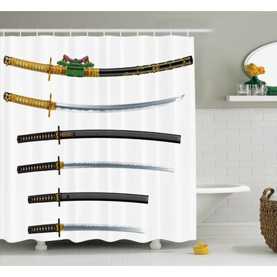 Japanese Set of Asian Swords Shower Curtain Size: 69 W x 84 L
