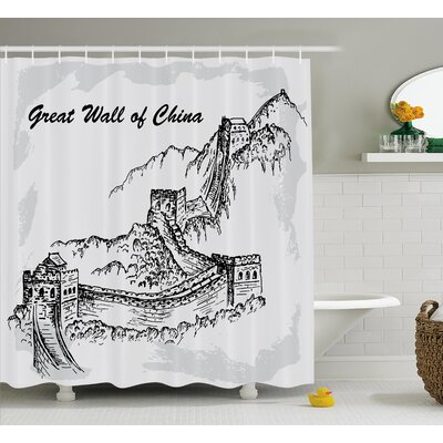 Asian Sketchy China War Ruins Shower Curtain Size: 69 W x 70 L