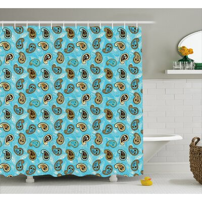 Hakeem Abstract Leaf Pattern Shower Curtain Size: 69 W x 70 L