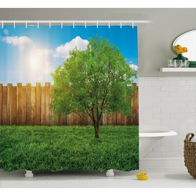 Scenery Life Tree Yard Field Shower Curtain Size: 69 W x 84 L