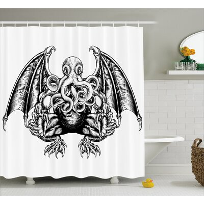 Space Cosmic Evil Monster Shower Curtain Size: 69 W x 75 L