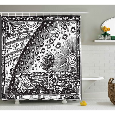 Vintage Moon Sun Planets Image Shower Curtain Size: 69 W x 84 L