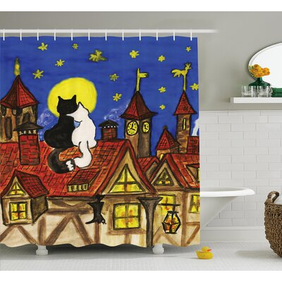 Everly Two Lover Cats with Sky Shower Curtain Size: 69 W x 75 L