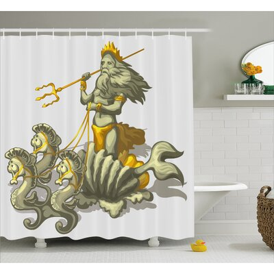 Sealife Shell Seahorse Greek Shower Curtain Size: 69 W x 84 L