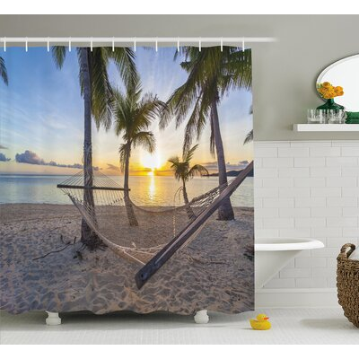 Tropical Paradise Beach Palms Shower Curtain Size: 69 W x 84 L