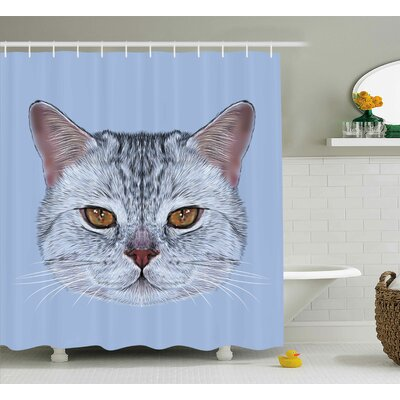 Cat Scottish Hipster Kitty Pet Shower Curtain Size: 69 W x 75 L