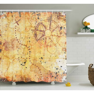 Zofia Antique Grunge Rusty Map Shower Curtain Size: 69 W x 70 L