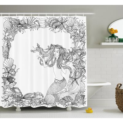 Mackenzie Seashells Mermaid Myth Shower Curtain Size: 69 W x 75 L
