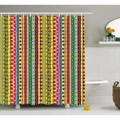 Beachmere Colored Abstract Stripes Shower Curtain Size: 69 W x 84 L