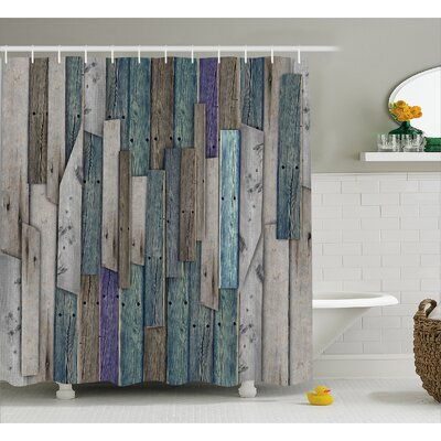 Livingston Blue Grey Planks Grunge Shower Curtain Size: 69 W x 84 L