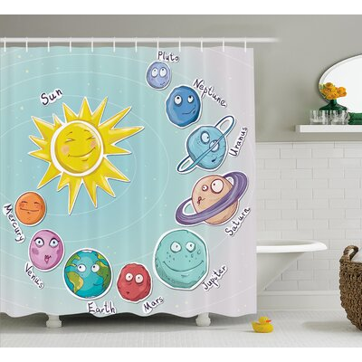 Lottie Cute Cartoon Sun Planets Shower Curtain Size: 69 W x 70 L
