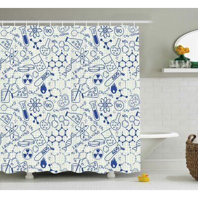 Vernon Geometry Chemistry Theme Shower Curtain Size: 69 W x 70 L
