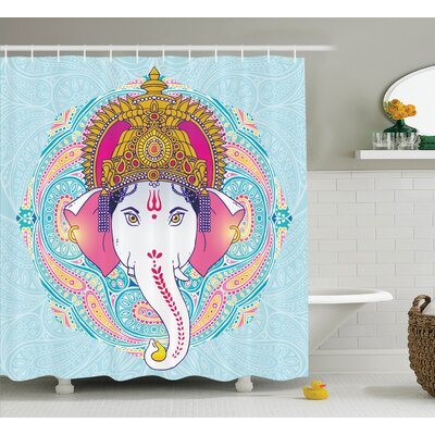 Delmer India Deity Paisley Blue Shower Curtain Size: 69 W x 70 L