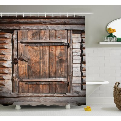 Vintage Rustic Wooden Door Shower Curtain Size: 69 W x 75 L