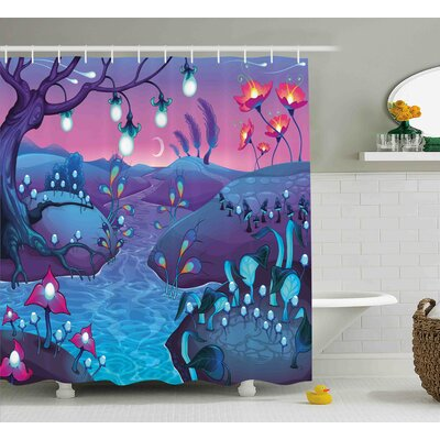 Marissa River Mushrooms Trees Print Shower Curtain Size: 69 W x 75 L
