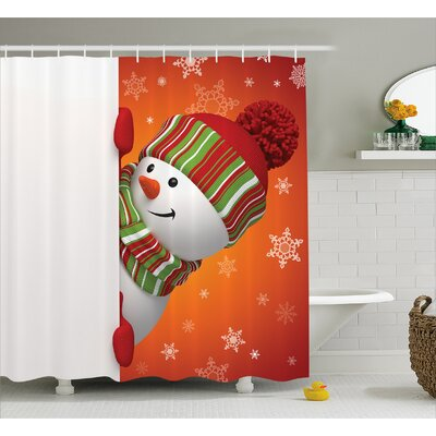 Christmas Funny Snowman Santa Shower Curtain Size: 69 W x 70 L