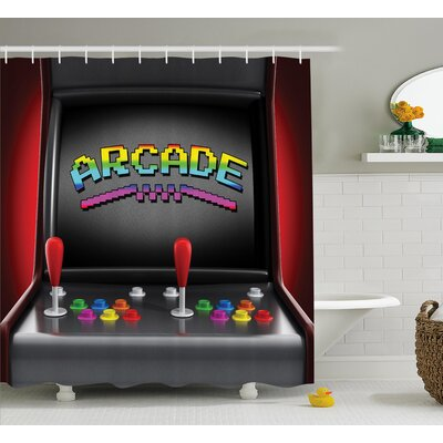 Video Games Arcade Retro Fun Shower Curtain Size: 69 W x 75 L