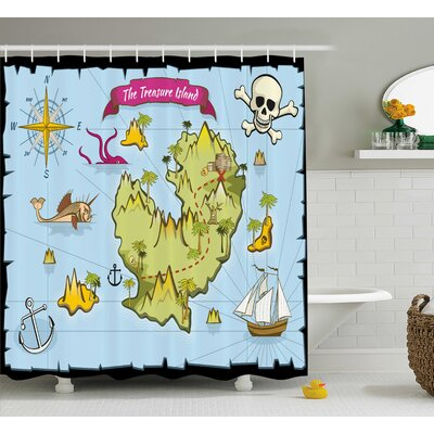 Susie Treasure Island Skull Shower Curtain Size: 69 W x 70 L
