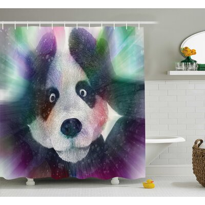 Fabric Psychedelic Panda Shower Curtain Size: 69 W x 70 L