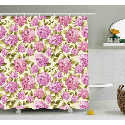 Burnes Elegance Flower with Leaves Shower Curtain Size: 69 W x 84 L