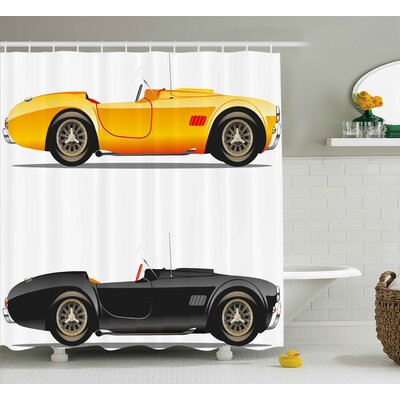 Vintage Retro Nostalgic Cars Shower Curtain Size: 69 W x 75 L