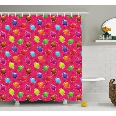 Marina lllustration of Candy Shower Curtain Size: 69 W x 75 L