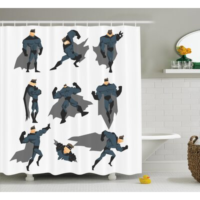 Marlon Superpowered Hero Shower Curtain Size: 69 W x 84 L