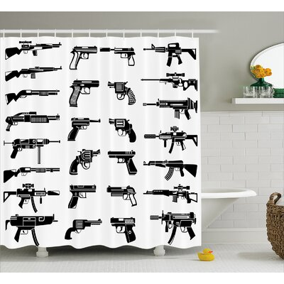 Alber Guns Riffles War Combat Shower Curtain Size: 69 W x 75 L