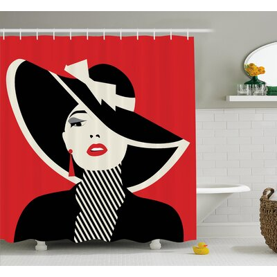 Amaris Decor Chic Women in Hat Shower Curtain Size: 69 W x 70 L