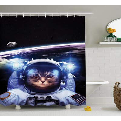 Space Funny Astronaut Cat Humor Shower Curtain Size: 69 W x 70 L